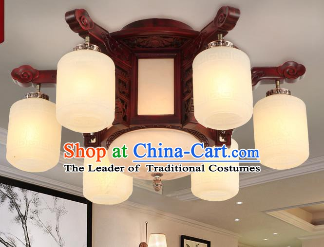 Traditional Chinese Handmade Six-Lights Ceiling Lantern Rosewood Marble Palace Lanterns Ancient Lamp