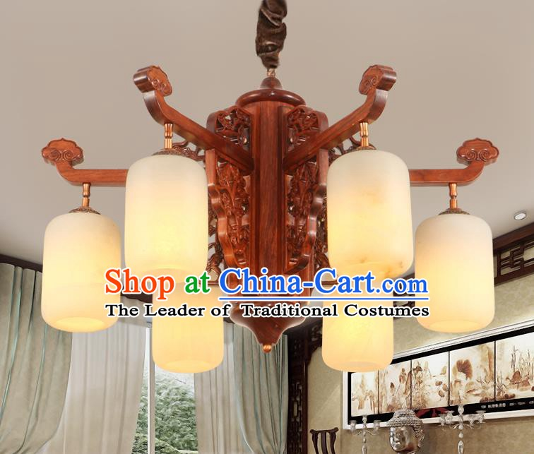 Traditional Chinese Handmade Marble Hanging Lantern Rosewood Six-Lights Palace Lanterns Ancient Lamp