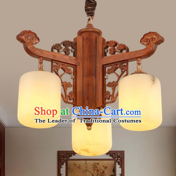 Traditional Chinese Handmade Marble Hanging Lantern Rosewood Three-Lights Palace Lanterns Ancient Lamp