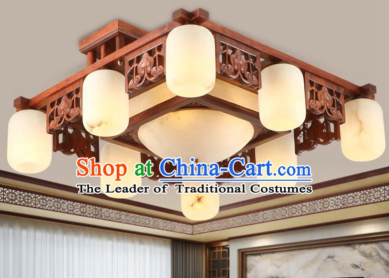 Traditional Chinese Handmade Marble Ceiling Lantern Rosewood Nine-Lights Palace Lanterns Ancient Lamp