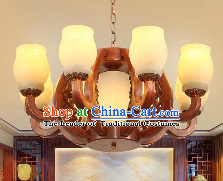 Traditional Chinese Handmade Rosewood Marble Ceiling Lantern Eight-Lights Palace Lanterns Ancient Lamp