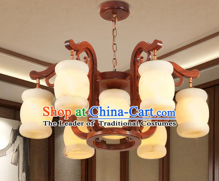 Traditional Chinese Handmade Rosewood Marble Ceiling Lantern Seven-Lights Palace Lanterns Ancient Lamp