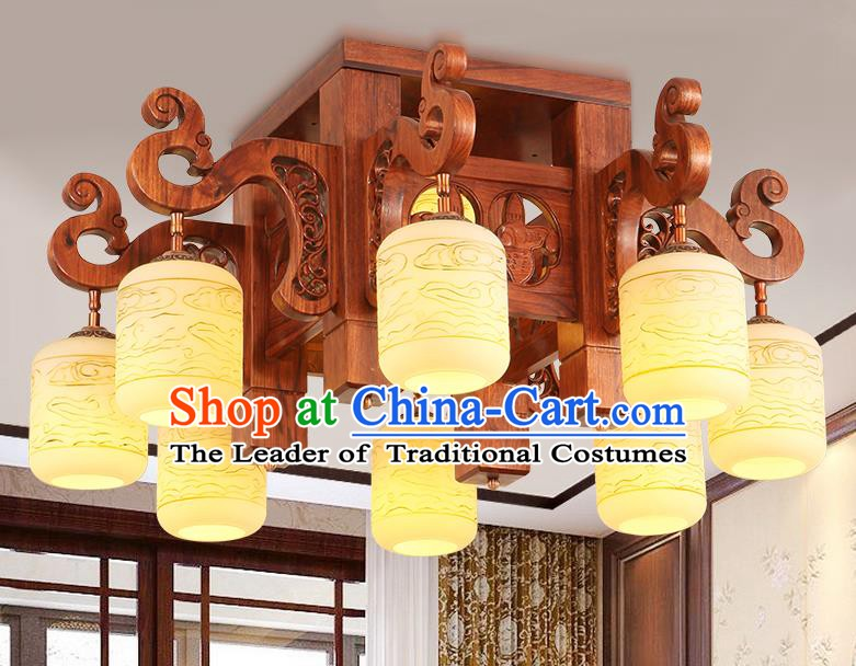 Traditional Chinese Handmade Marble Ceiling Lantern Rosewood Eight-Lights Palace Lanterns Ancient Lamp