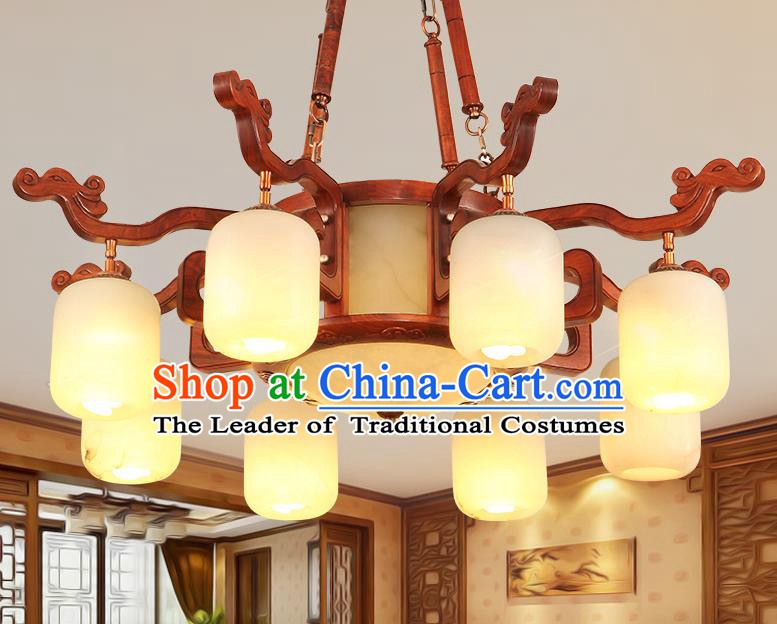 Traditional Chinese Handmade Marble Ceiling Lantern Wood Eight-Pieces Palace Lanterns Ancient Lamp