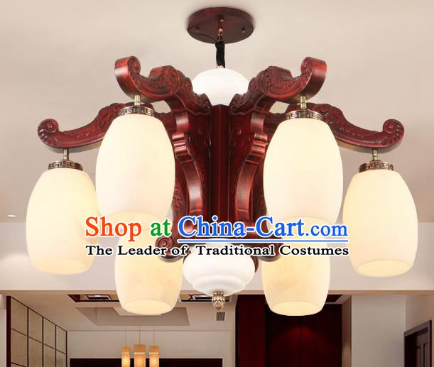 Traditional Chinese Handmade Marble Ceiling Lantern Six-Pieces Palace Lanterns Ancient Wood Lamp
