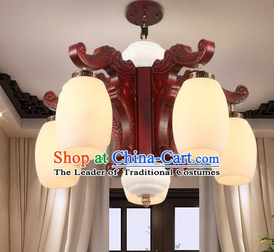 Traditional Chinese Handmade Marble Ceiling Lantern Five-Pieces Palace Lanterns Ancient Wood Lamp