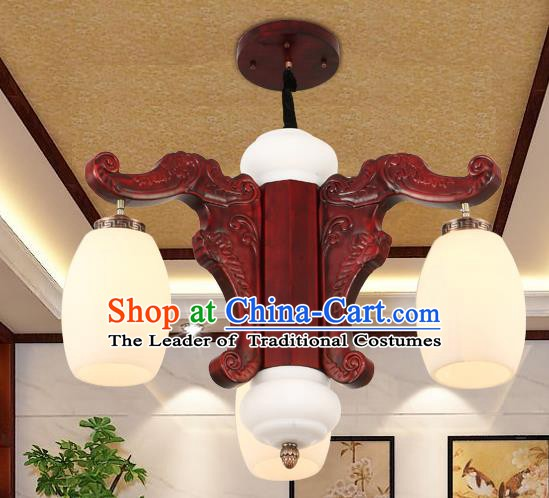 Traditional Chinese Handmade Marble Ceiling Lantern Three-Pieces Palace Lanterns Ancient Wood Lamp