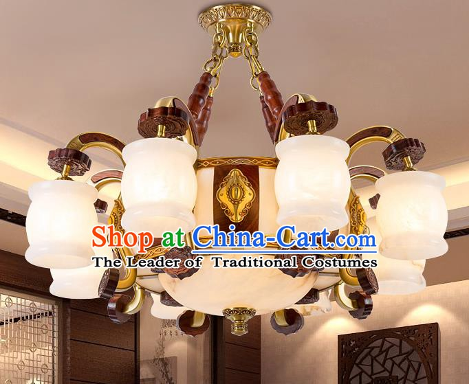 Traditional Chinese Handmade Marble Ceiling Lantern Brass Eight-Pieces Palace Lanterns Ancient Lamp