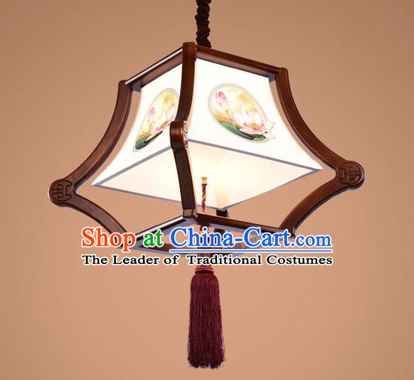 Traditional Chinese Handmade Palace Lantern Wood Hanging Lanterns Ancient Painting Lotus Lamp