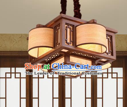 Traditional Chinese Handmade Palace Lantern Wood Four-Lights Ceiling Lanterns Ancient Lamp