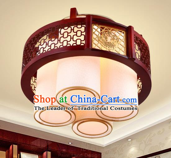 Traditional Chinese Handmade Palace Lantern Four-Lights Ceiling Lanterns Ancient Wood Lamp