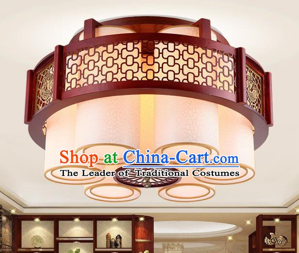 Traditional Chinese Handmade Palace Lantern Six-Lights Ceiling Lanterns Ancient Wood Lamp