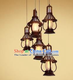 Traditional Chinese Handmade Palace Lantern Five-Lights Lanterns Ancient Hanging Lamp