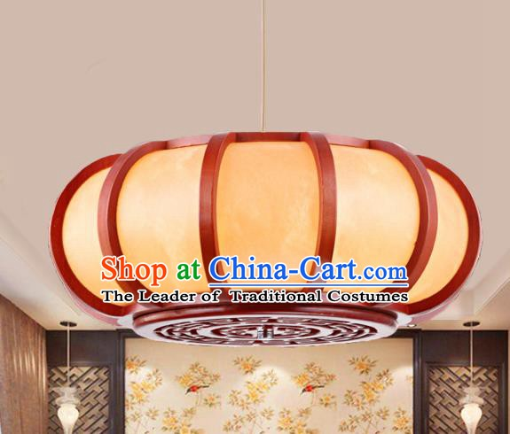 Traditional Chinese Handmade Palace Pumpkin Lantern Hanging Wood Lanterns Ancient Lamp