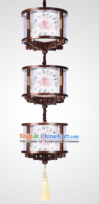 Traditional Chinese Handmade Palace Three-Lights Lantern Hanging Painted Lanterns Ancient Lamp