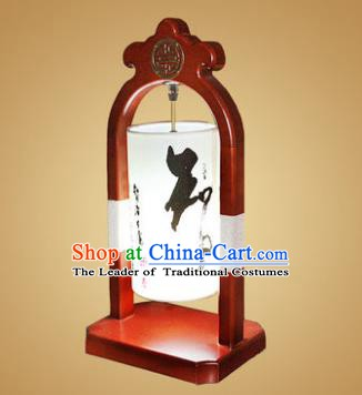 China Handmade Wood Lanterns Ink Painting Palace Desk Lantern Ancient Lanterns Traditional Lamp