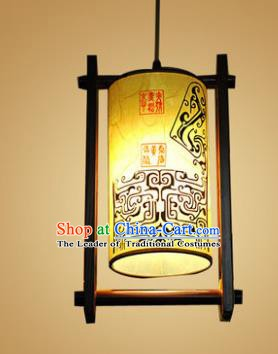 Traditional Chinese Handmade Painted Palace Lantern Hanging Lanterns Ancient Wood Lamp