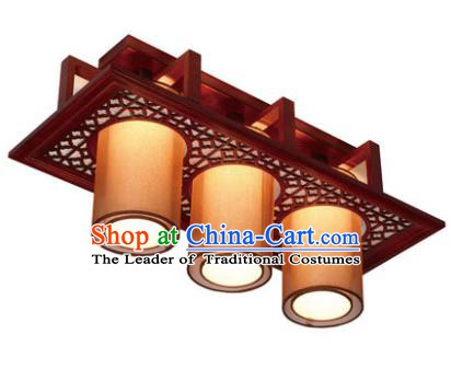 Traditional Chinese Handmade Wood Palace Lantern Three-Lights Ceiling Lanterns Ancient Lamp