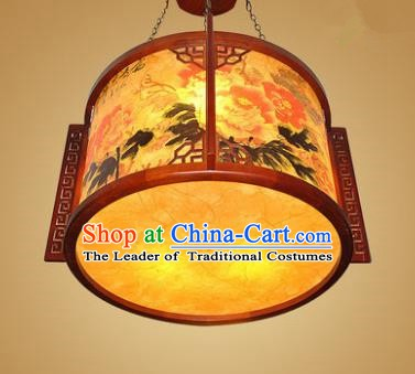 Traditional Chinese Hanging Palace Lantern Handmade Painting Peony Ceiling Lanterns Ancient Lamp
