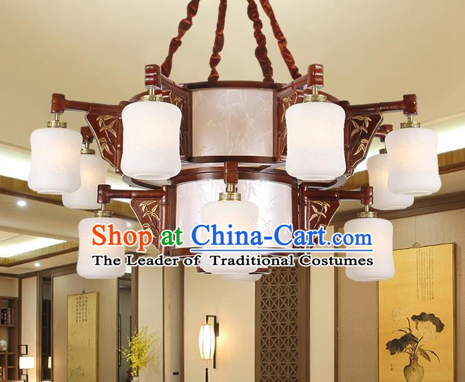 Traditional Chinese Carving Bamboo Palace Lantern Handmade Twelve-Lights Ceiling Lanterns Ancient Lamp