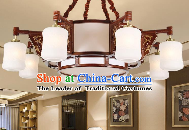 Traditional Chinese Wood Palace Lantern Handmade Eight-Lights Ceiling Lanterns Ancient Lamp