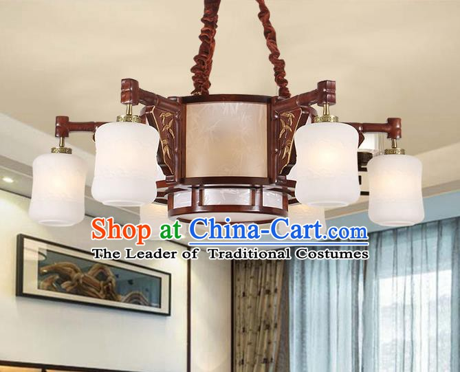 Traditional Chinese Wood Palace Lantern Handmade Six-Lights Ceiling Lanterns Ancient Lamp