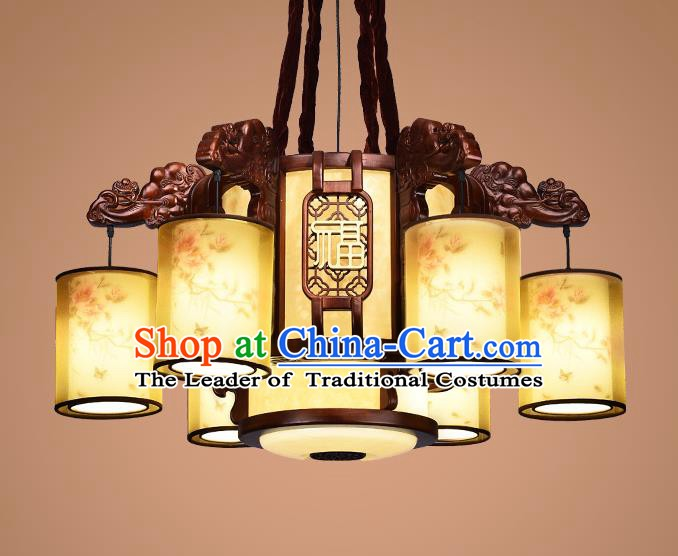 Traditional Chinese Wood Palace Lantern Handmade Six-Lights Hanging Ceiling Lanterns Ancient Lamp