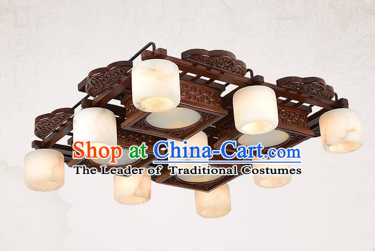 Traditional Chinese Wood Palace Lantern Handmade Nine-Lights Marble Ceiling Lanterns Ancient Lamp