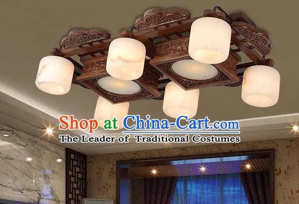 Traditional Chinese Wood Palace Lantern Handmade Six-Lights Marble Ceiling Lanterns Ancient Lamp
