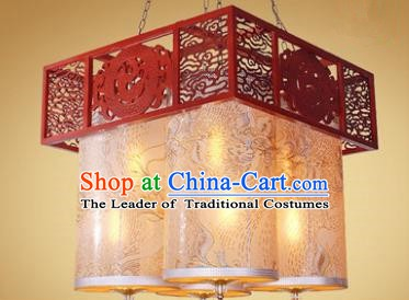 Traditional Chinese Palace Lantern Handmade Wood Hanging Lanterns Ancient Lamp