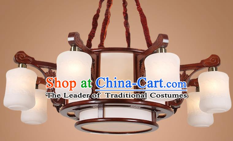 Traditional Chinese Eight-Lights Palace Lantern Handmade Wood Hanging Lanterns Ancient Lamp