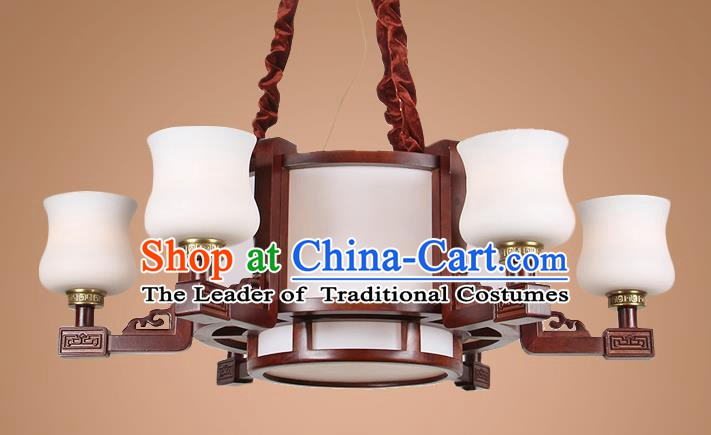 Traditional Chinese Six-Lights Palace Lantern Handmade Wood Ceiling Lanterns Ancient Lamp