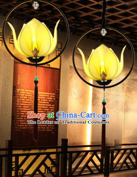 Traditional Chinese Yellow Lotus Palace Lantern Handmade Ceiling Lanterns Ancient Lamp