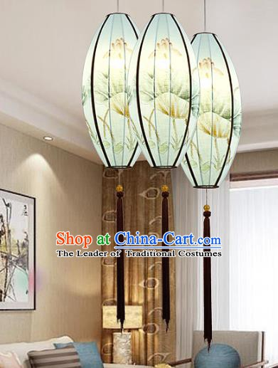 Traditional Chinese Painting Lotus Green Palace Lantern Handmade Hanging Lanterns Ancient Lamp