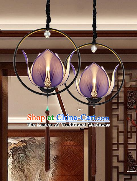 Traditional Chinese Purple Lotus Palace Lantern Handmade Ceiling Lanterns Ancient Lamp