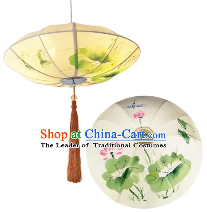Traditional Chinese Painting Lotus Palace Lantern Handmade Ceiling Lanterns Ancient Lamp
