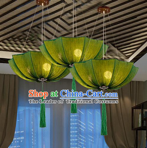 Traditional Chinese Green Umbrella Palace Lantern Handmade Ceiling Lanterns Ancient Lamp