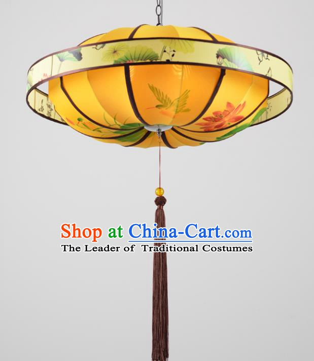 Traditional Chinese Painting Birds Lotus Palace Lantern Handmade Ceiling Lanterns Ancient Lamp