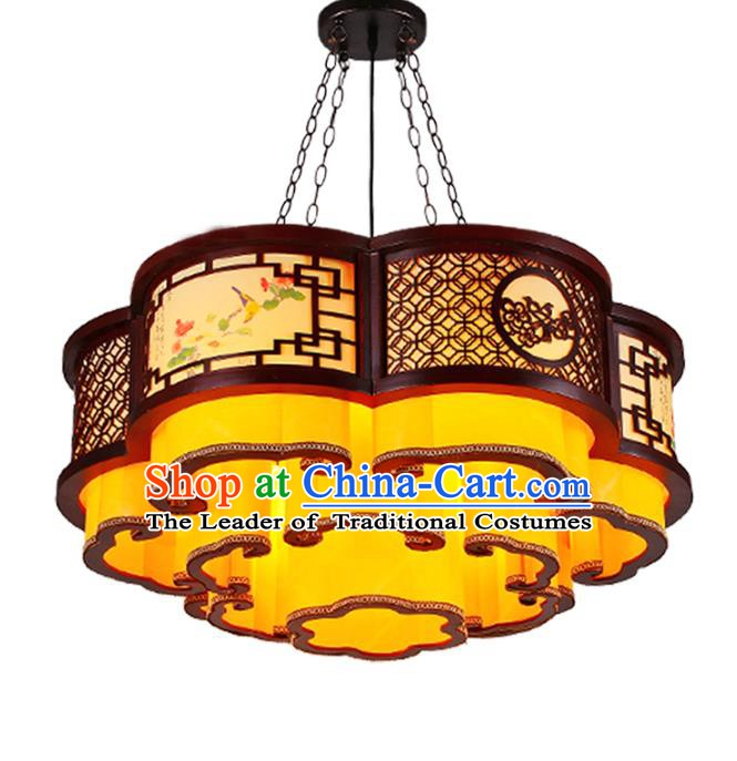 Traditional Chinese Palace Lantern Handmade Painting Flowers Wood Ceiling Lanterns Ancient Lamp
