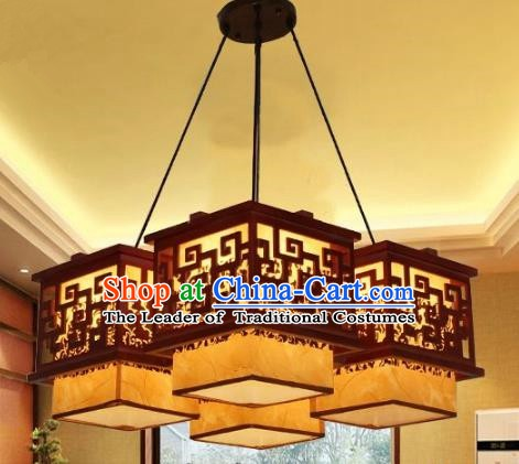 Traditional Chinese Parchment Palace Lantern Handmade Four-Lights Wood Ceiling Lanterns Ancient Lamp
