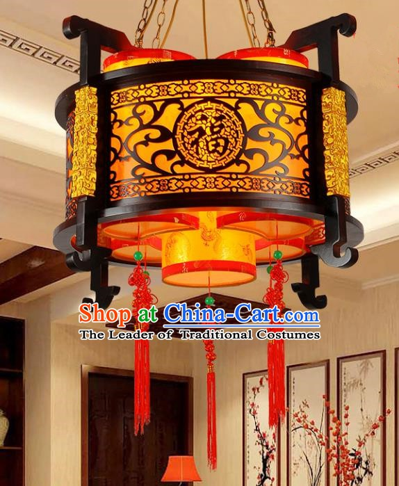 Traditional Chinese Parchment Carving Palace Lantern Handmade Ceiling Lanterns Ancient Lamp