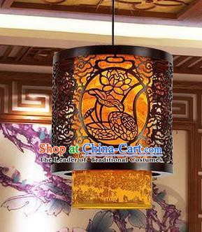 Traditional Chinese Carving Lotus Palace Lantern Handmade Ceiling Lanterns Ancient Lamp