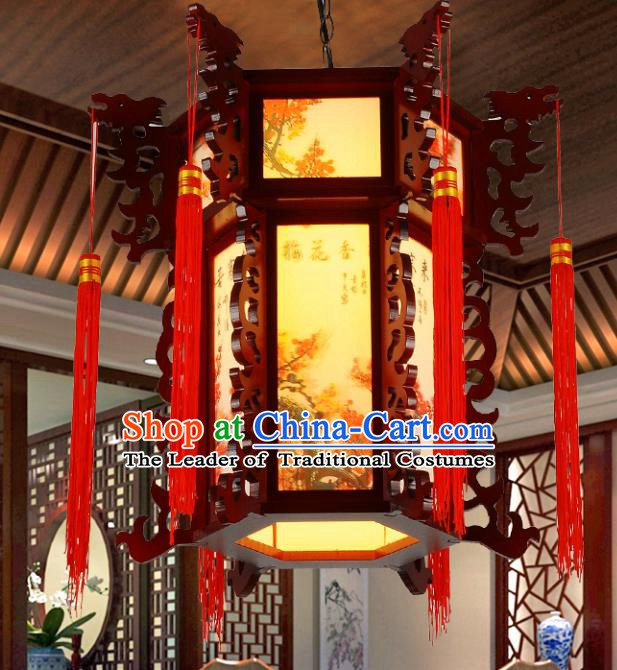 Top Grade Handmade Painting Plum Blossom Palace Lanterns Traditional Chinese Lantern Ancient Ceiling Lanterns