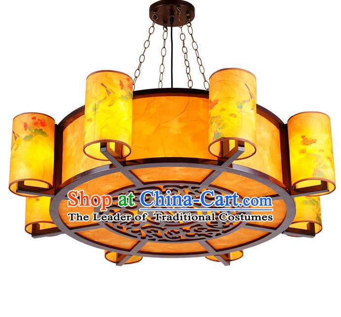 Top Grade Handmade Eight-Lights Palace Lanterns Traditional Chinese Lantern Ancient Ceiling Lanterns