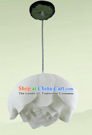 Top Grade Handmade White Lotus Hanging Lanterns Traditional Chinese Ceiling Palace Lantern Ancient Lanterns