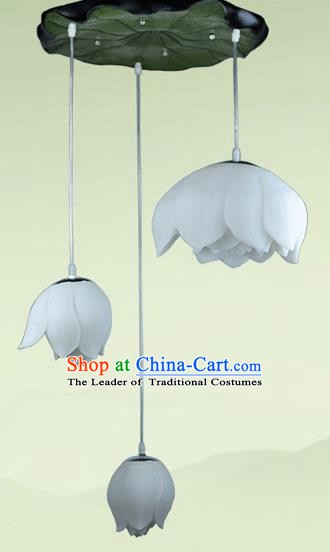 Top Grade Handmade Three-Lights Lotus Hanging Lanterns Traditional Chinese Ceiling Palace Lantern Ancient Lanterns