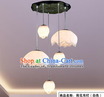 Top Grade Handmade Five-Lights Lotus Hanging Lanterns Traditional Chinese Ceiling Palace Lantern Ancient Lanterns