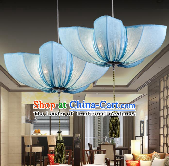 Top Grade Handmade Blue Hanging Lanterns Traditional Chinese Ceiling Palace Lantern Ancient Lanterns