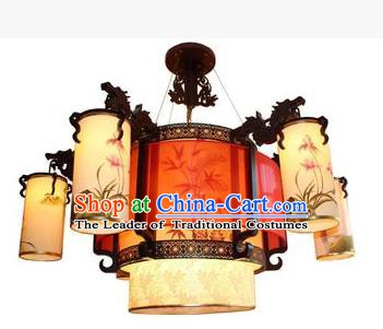 Traditional Chinese Painting Orchid Palace Lantern Handmade Ceiling Lanterns Ancient Lamp