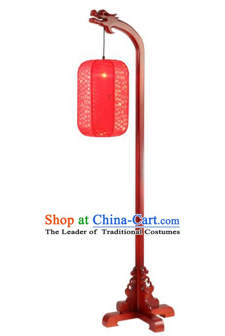 Traditional Chinese Wood Palace Lantern Handmade Red Floor Lanterns Ancient Lamp